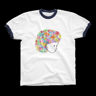 むきむき   地球生活のはなちゃん Ringer T-shirts