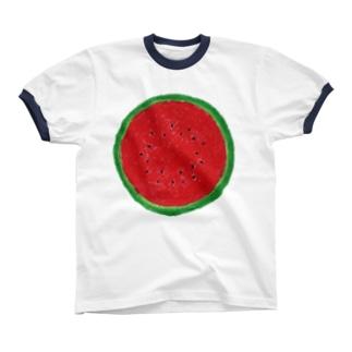 スイカ(赤) リンガーTシャツ