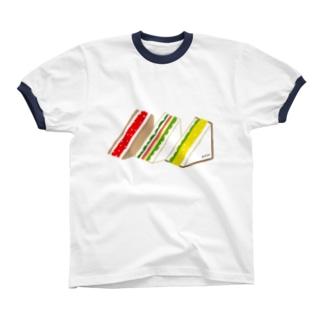 三角サンド3つ リンガーTシャツ