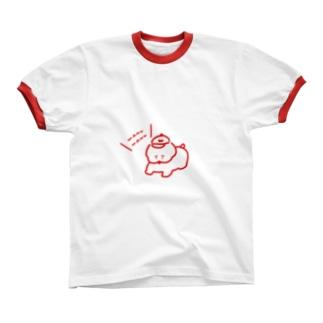 お散歩ワヌちゃん(あか) リンガーTシャツ