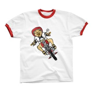 骨バイク リンガーTシャツ