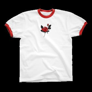 イタズラガキの🥀red リンガーTシャツ