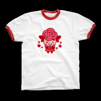 エツコロジーのばららちゃんニコニコ リンガーTシャツ