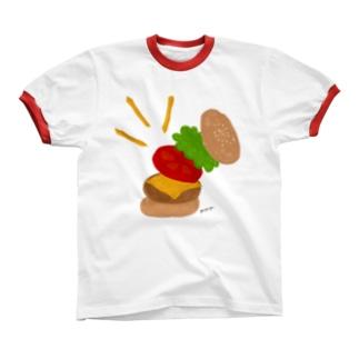楽しくなっちゃうハンバーガー リンガーTシャツ