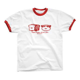 パン販売所のリンガーパンシャツ(赤)リンガーTシャツ
