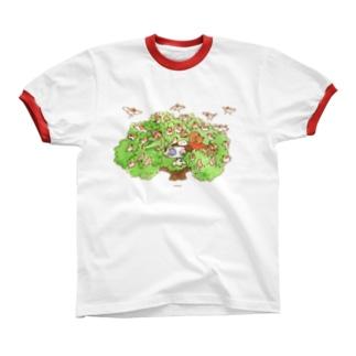 木の上のティータイム Ringer T-shirts