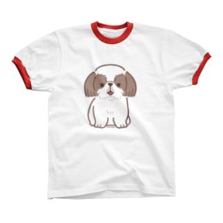 おすわりシーズー リンガーTシャツ