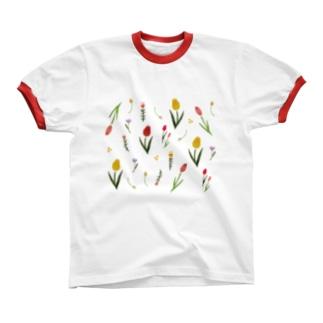 ふんわり花柄 Ringer T-shirts
