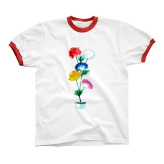 おもいで水中花 Ringer T-shirts