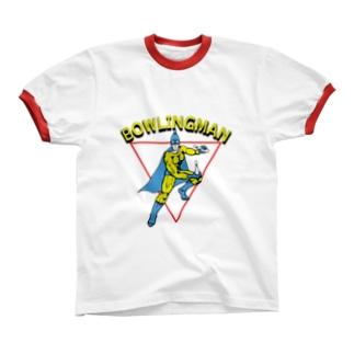 ボーリングマン アメコミヒーロー風 リンガーTシャツ