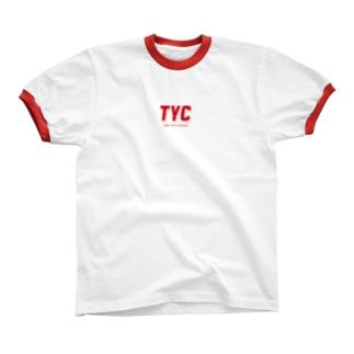 TYCスポーティーロゴ赤 リンガーTシャツ