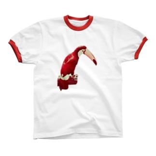 イケてる真っ赤なオニオオハシ リンガーTシャツ