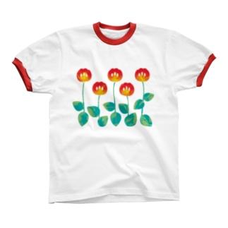 Flowers リンガーTシャツ