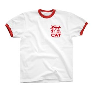 猫もじ リンガーTシャツ