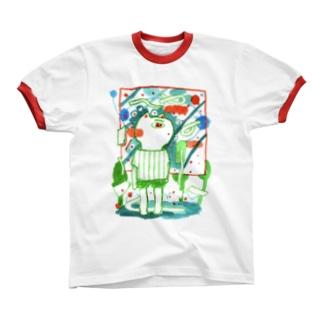 ねこ Ringer T-shirts