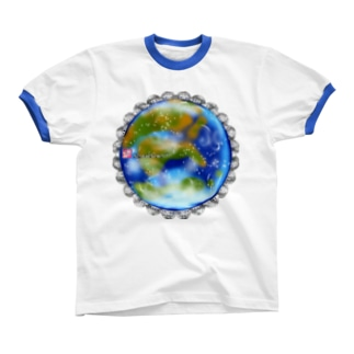 「花籠」Series * planetflower_blueplanet リンガーTシャツ