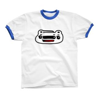 くまめ ワープする リンガーTシャツ