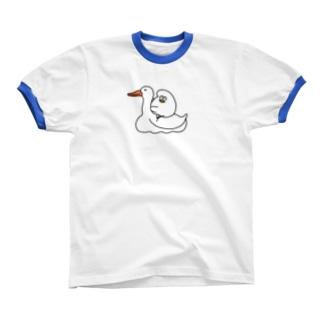 アヒルでなくガチョウ リンガーTシャツ