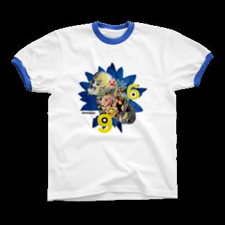 あらえびすのBlue Lotus 369リンガーTシャツ