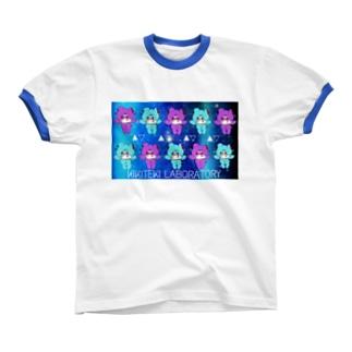 NEZIKUMA 紫 × 水 Ringer T-shirts