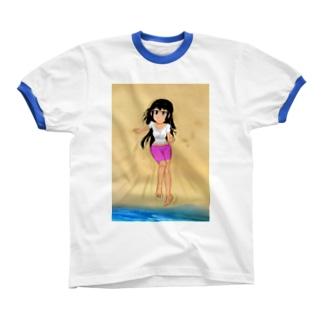 カラー黒髪女子浜辺 Ringer T-shirts