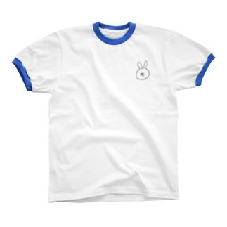 血を吐くうさぎ リンガーTシャツ