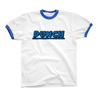 PUNCH ブルー Ringer T-shirts