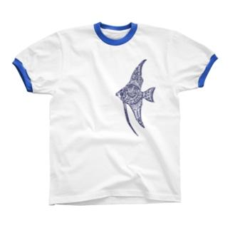天使魚 Ringer T-shirts