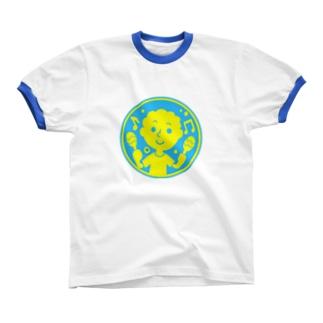 るんるんマラカス【丸型ツートンカラー】 Ringer T-shirts