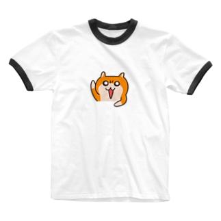 ヤホ!ってしてるクソハムちゃん(白) Ringer T-shirts