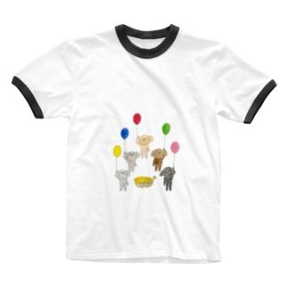 プードルズ 風船 Ringer T-shirts