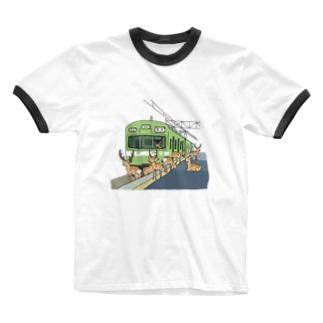奈良の電車 Ringer T-shirts