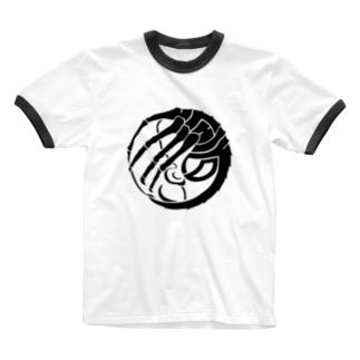 SF家紋「顔に壽海老」 Ringer T-shirts