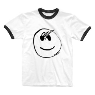 我が子が4回目に描いた顔 Ringer T-shirts