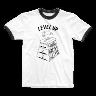 ねこぜもんのLEVEL UP FTS くろいロゴ Ringer T-shirts