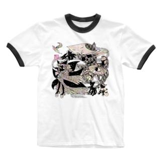 """❀花狐庵❀-HanaKoAn-の「百歳」Series * Hyakkiyako""""HanaKoAn""""ver. Ringer T-shirts"""