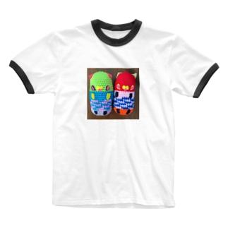 シェイモオリジナルあみぐるみ 黄緑色ニャンコちゃんと赤ニャンコちゃん Ringer T-shirts