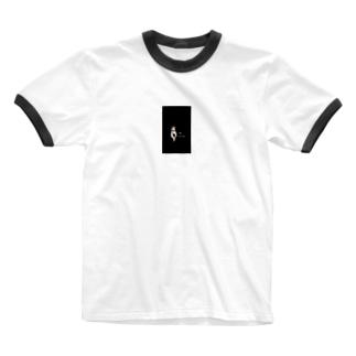 三毛猫 Mike 黒 Ringer T-shirts