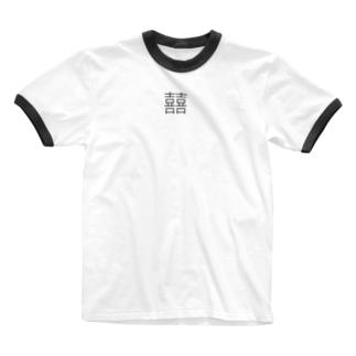 ダブルハピネス Ringer T-shirts
