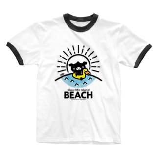 octon Slow life Island BEACH #basic Ringer T-shirts