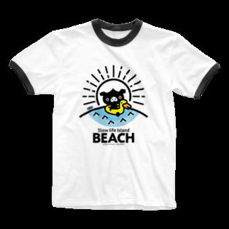 はちエンピツのocton Slow life Island BEACH #basic Ringer T-shirts