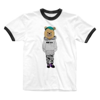 くまさん Ringer T-shirts