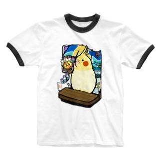 オカメインコの銭湯 Ringer T-shirts