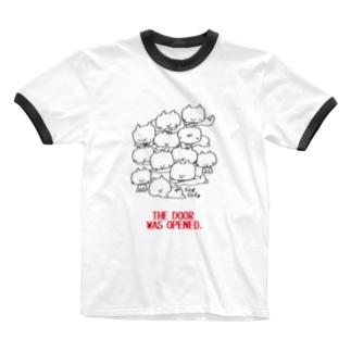 (わーくわくシリーズ)cat cafeさん Ringer T-shirts