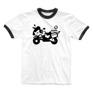 やわらか白バイ Ringer T-shirts
