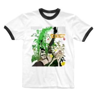 ジャクリーヌちゃんと豆蔓 Ringer T-shirts