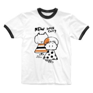 (わーくわくシリーズ)hair dresserさん(orange) Ringer T-shirts