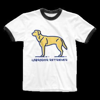 ぽっぷんすたんぷ -POP'N STAMP-のラブラドール・レトリバー・LABRADOR RETRIEVER Ringer T-shirts