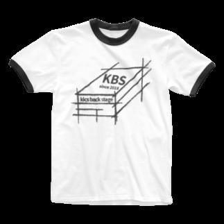 kicsbackstageのshoe box white/black Ringer T-shirts