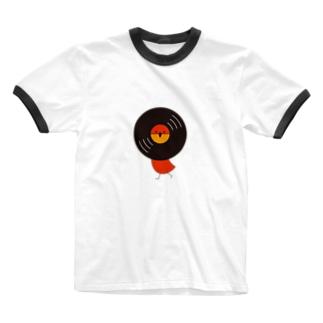 レコードリお日様 -Left Walk Ringer T-shirts